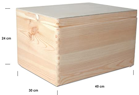 Creative Deco XXL Grande Caja Madera para Decorar con Tapa | 40 x 30 x 24 cm | Baúl Cofre Decoracion Almacenaje Herramiente Fruta Decoupage Documentos ...