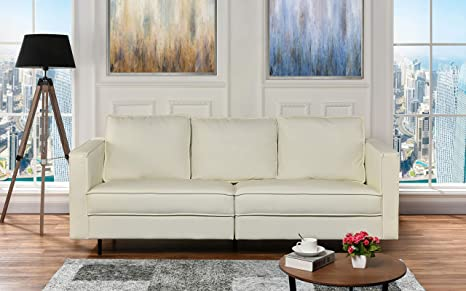 Amazon.com: Mid-Century Modern Leather Living Room Sofa ...