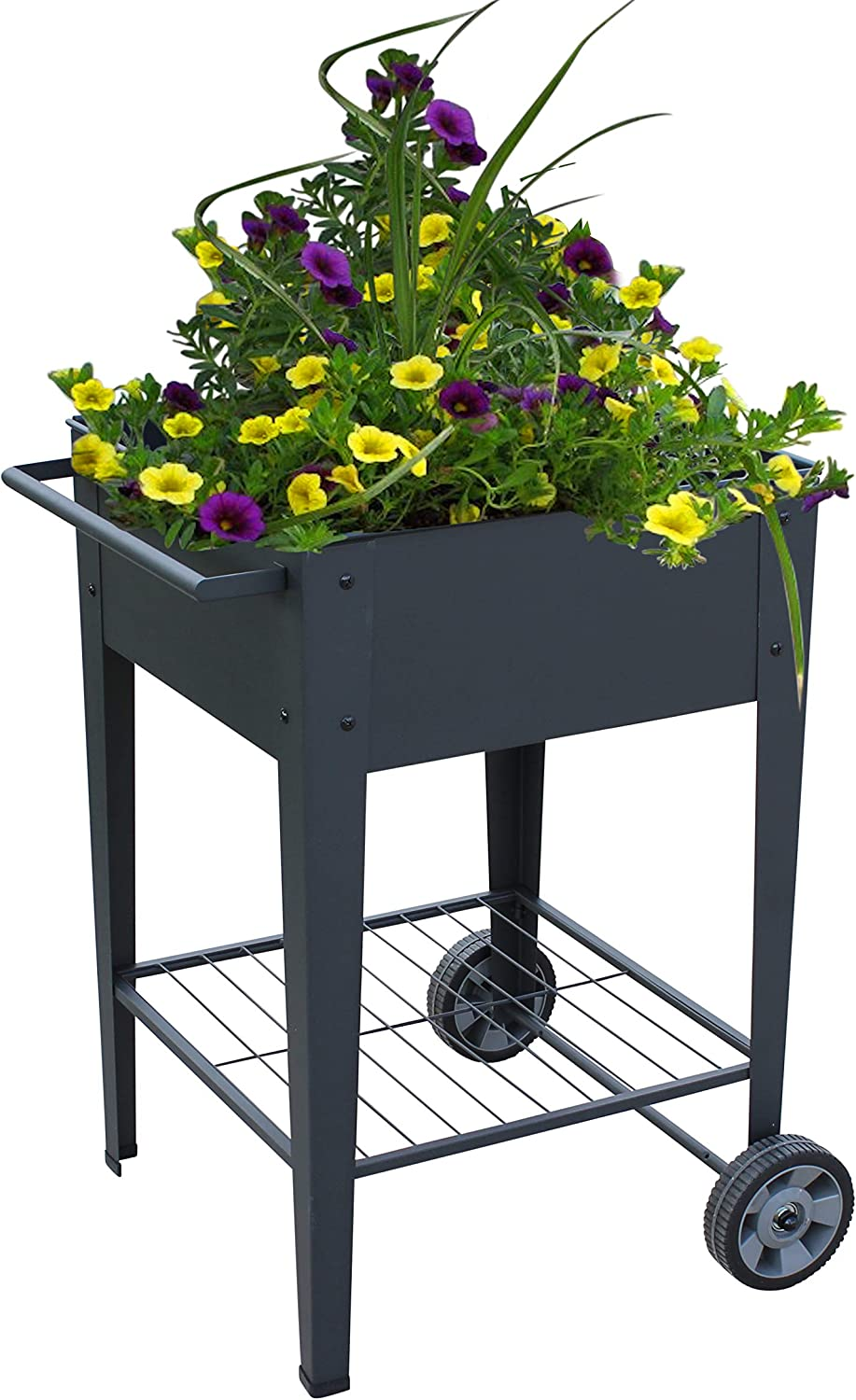 Garraí Mobile Raised Planter Box -Garden Cart with Wheels, Movable Square Outdoor Elevated Garden Bed - Grow Vegetables Flowers Herbs on Patio, Deck, or Yard.
