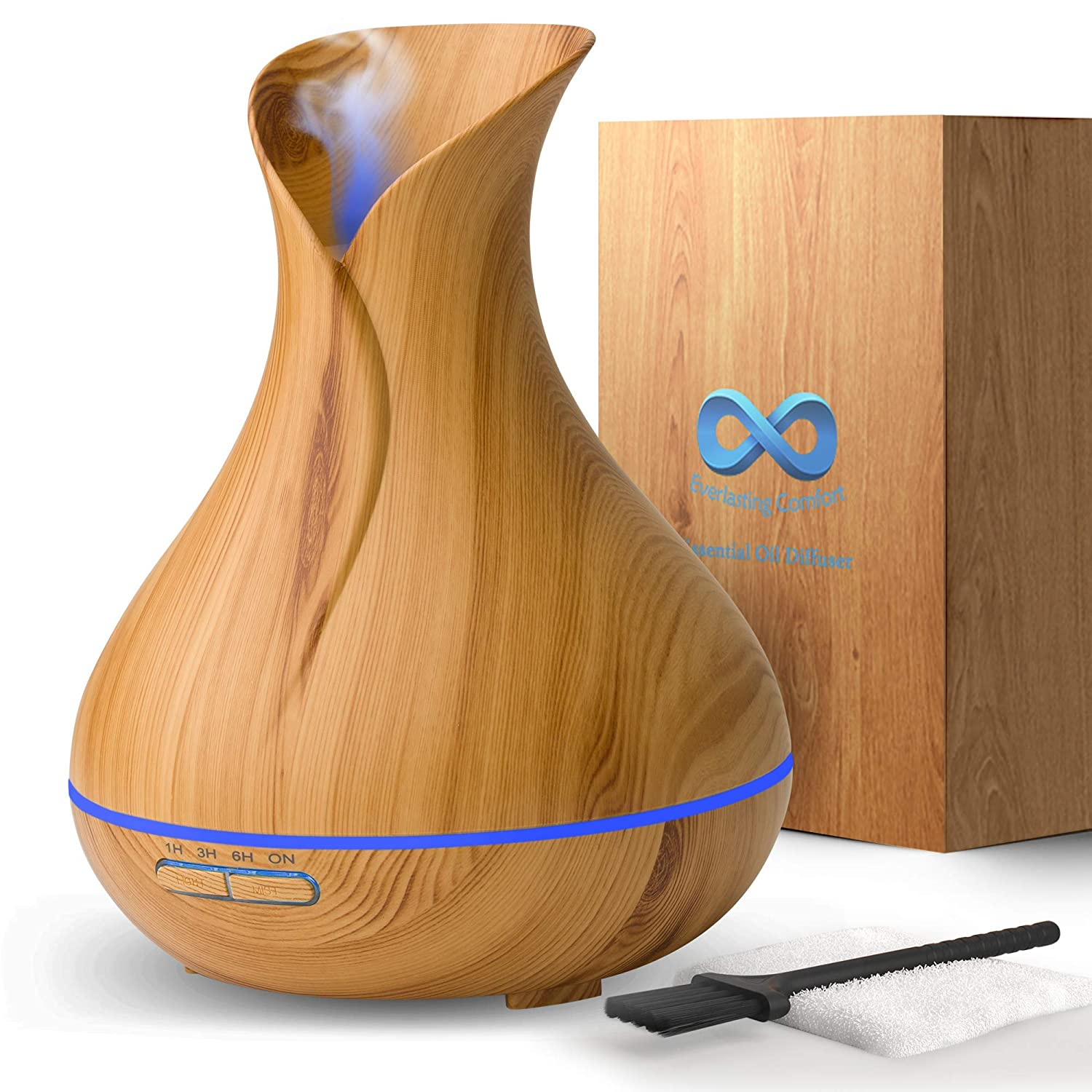 Diffuser for Essential Oils (400ml) - Super High Aroma Output, FREE Cleaning Kit - Dark Wood Essential Oil Diffuser Everlasting Comfort