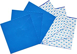 "EKIND 6 PCS Self Adhesive Classic Building Brick Plate 10"" x 10"" Compatible with Building Brickyard Blocks All Major Brands (Blue)"