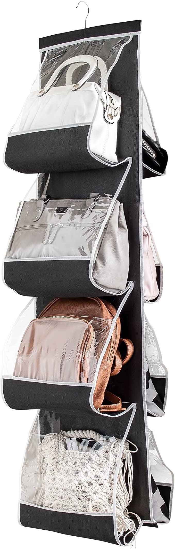 """ZOBER Hanging Purse Organizer for Closet Clear Handbag Organizer for Purses, Handbags Etc. 8 Easy Access Clear Vinyl Pockets with 360 Degree Swivel Hook, Gray, 48"""" L x 13.8"""" W (Black): Amazon.ca: Home & Kitchen"""