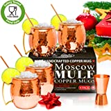 Moscow Mule Copper Mugs - Set of 4 - 100% HANDCRAFTED – Food Safe Pure Solid Copper Mugs - 16 oz Gift Set with BONUS: Highest Quality Cocktail Copper Straws and Jigger!