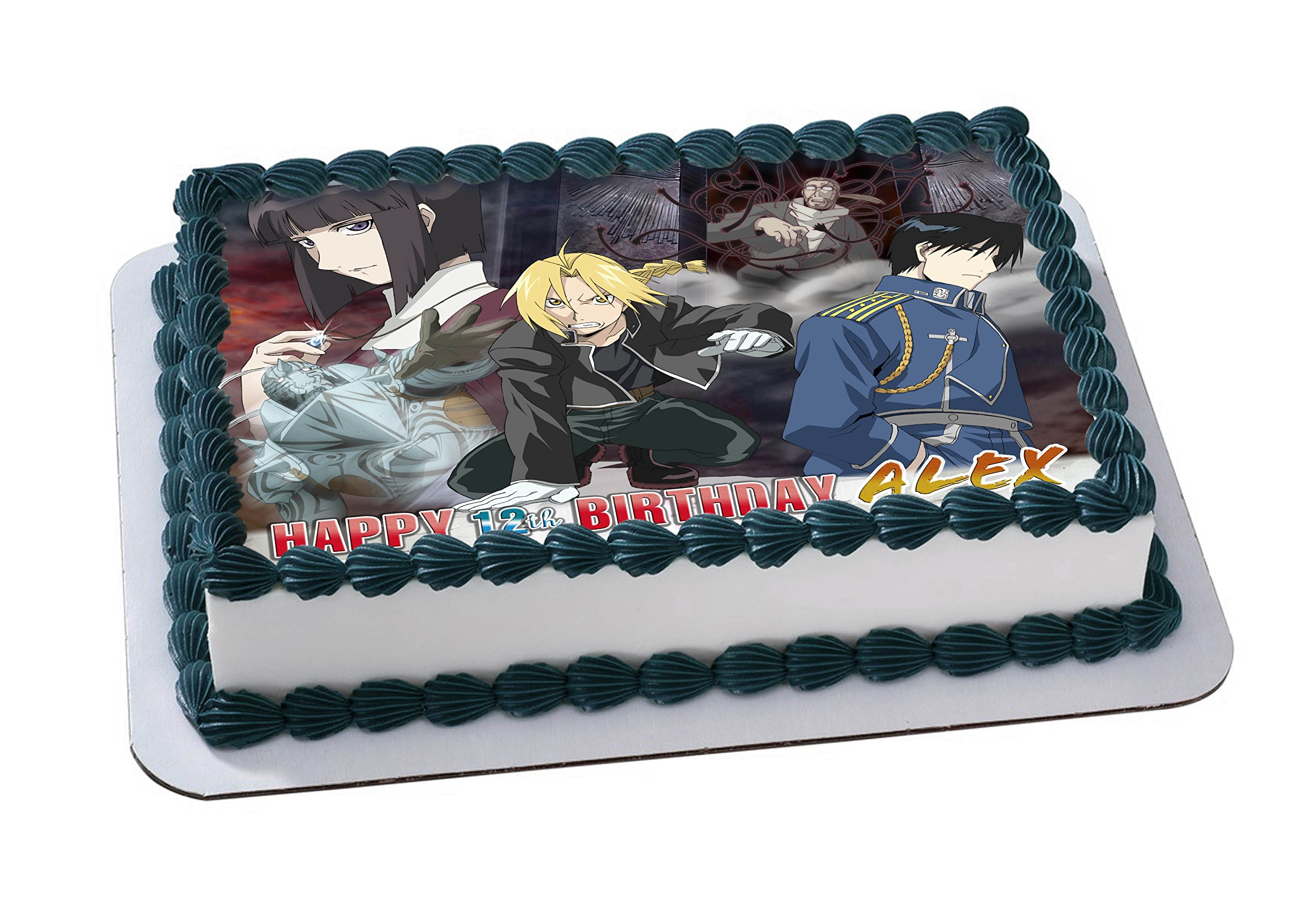 Fullmetal Alchemist Edible Image Cake Topper Personalized Icing Sugar Paper A4 Sheet Edible Frosting Photo Cake 1/4 ~ Best Quality Edible Image for cake by EdibleInkArt (Image #2)