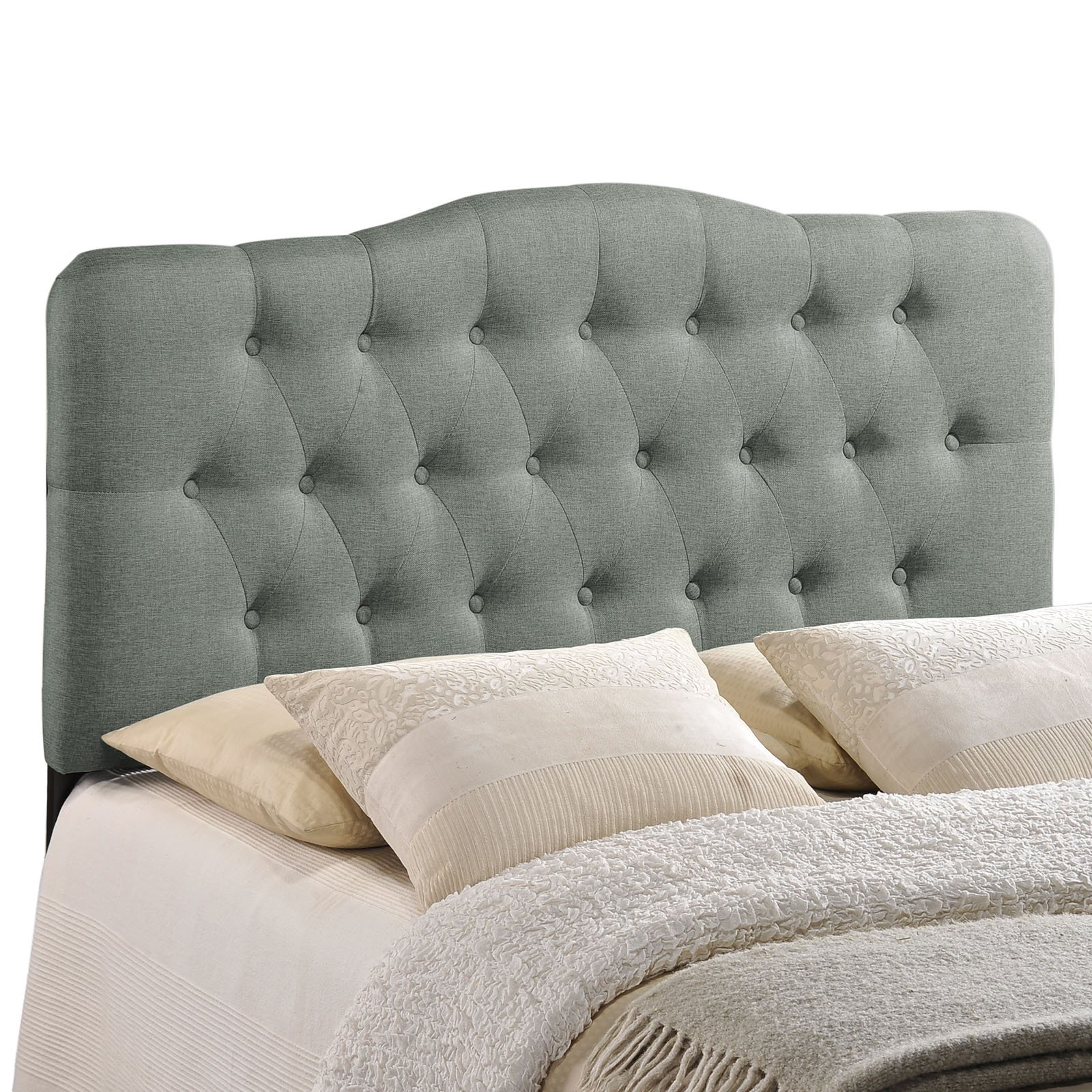 Modway Annabel Tufted Button Linen Fabric Upholstered King Headboard in Gray by Modway