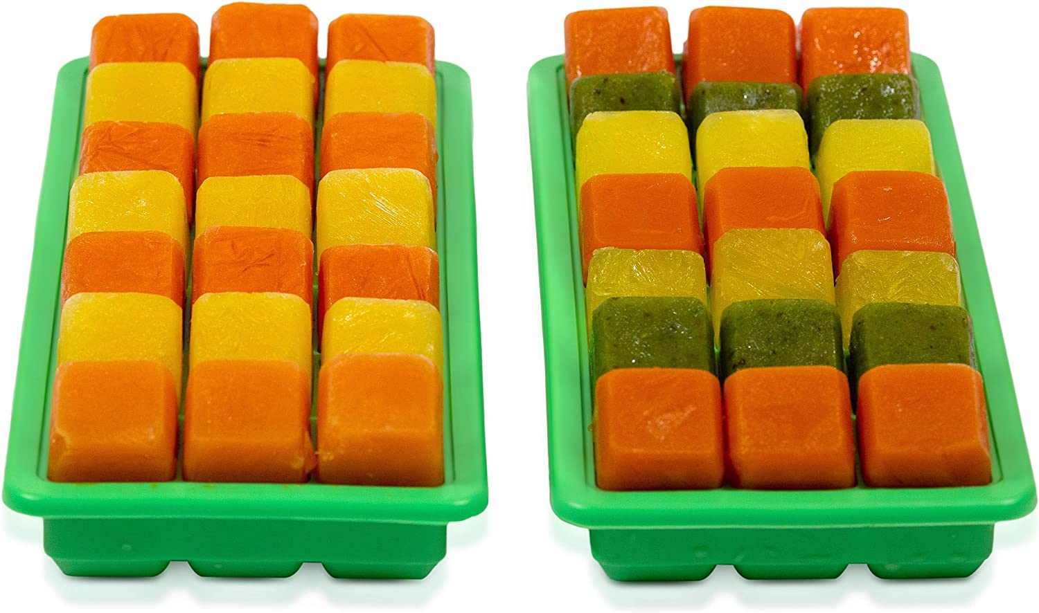 Set of 2 Silicone Ice Cube Trays With Lids, Makes 21 Ice Cube Each, Pair of Silicone Molds For Making Ice Cubes, Food Grade Silicone, BPA Free Ice Trays - Color Green
