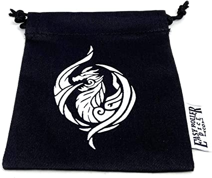 Holds 40 16mm Dice Small Cotton Twill Dice Bag Raven Design