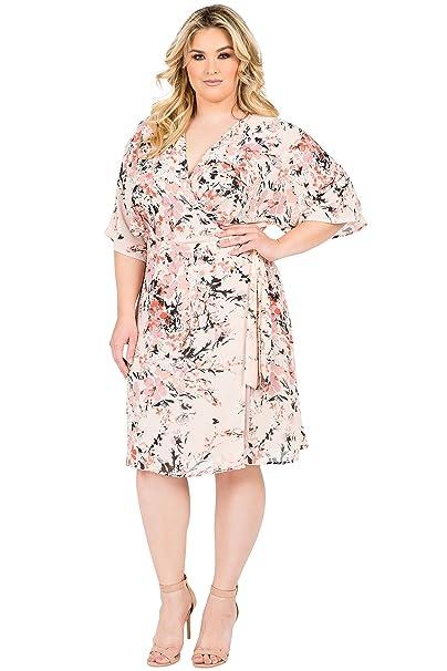 Standards & Practices Plus Size Modern Womens Pink Floral Kimono Wrap Midi  Dress