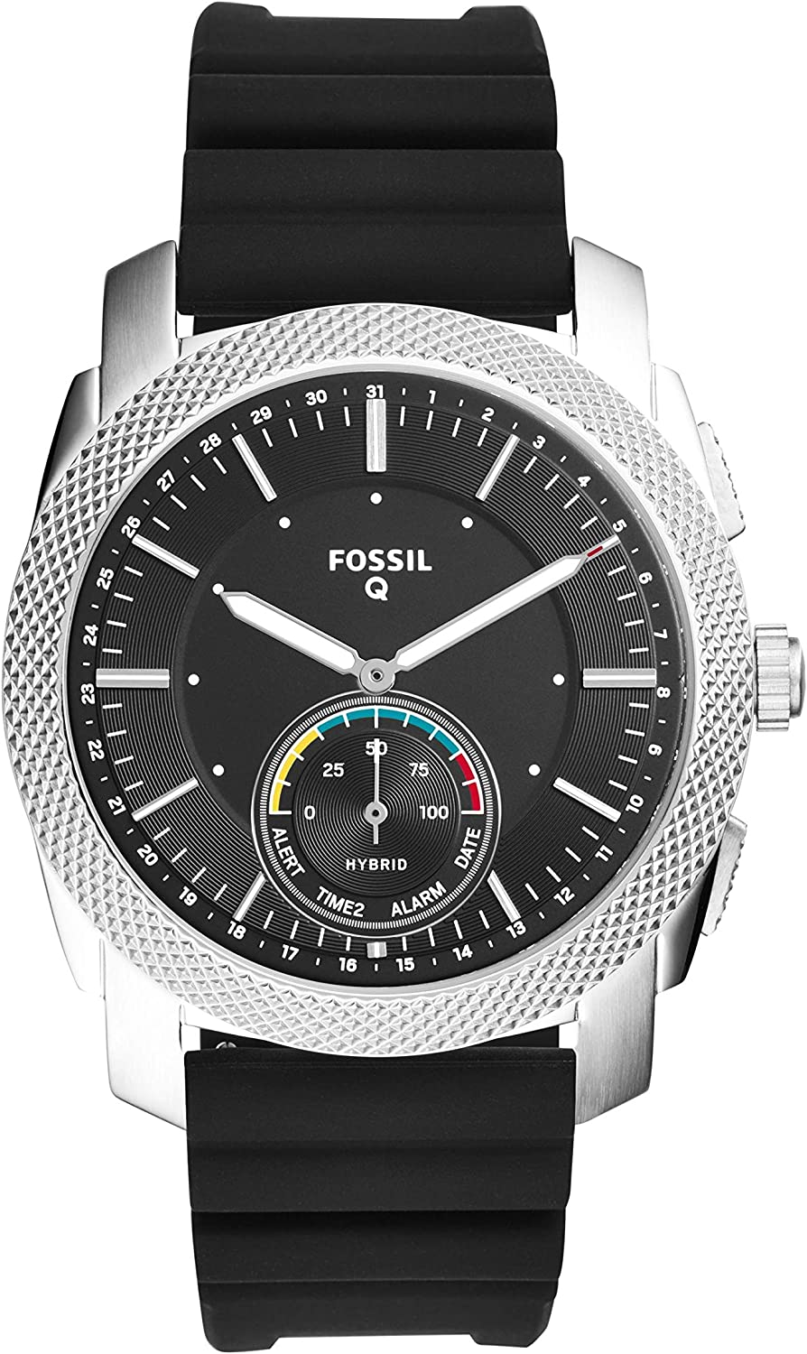 Fossil Q Men s Machine Black Silicone Hybrid Smartwatch FTW1164