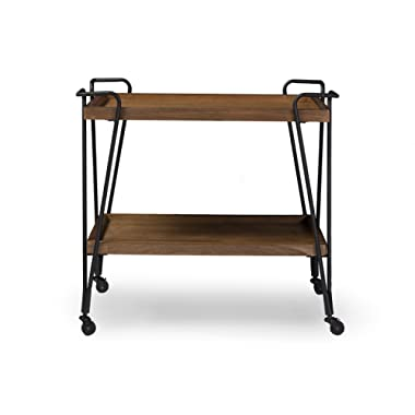Baxton Studio Jessica Rustic Industrial Style Antique Textured Metal Distressed Ash Wood Mobile Serving Bar Cart, Black