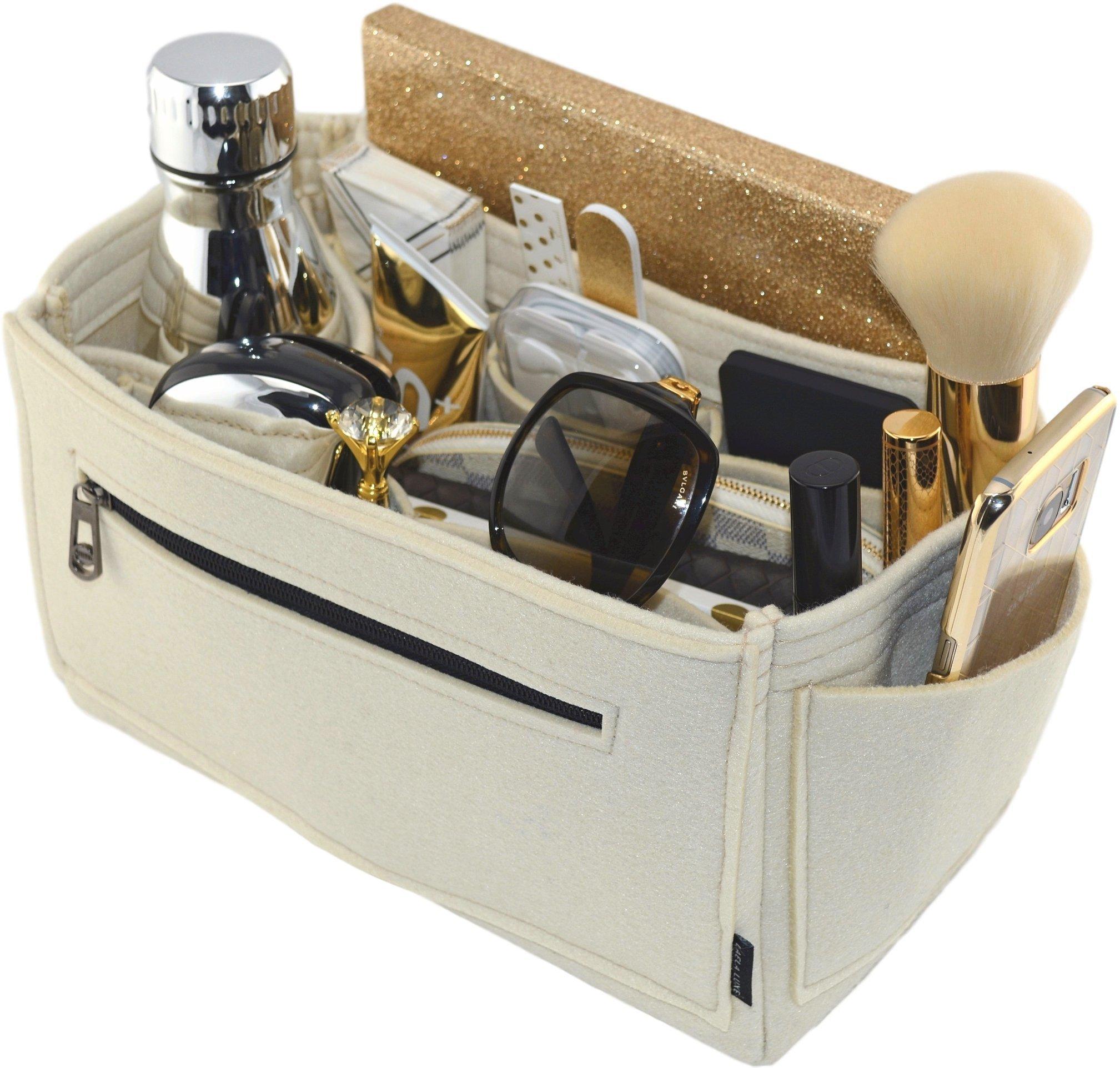 Laela Luxe Felt Handbag Purse Organizer, 14 Pockets, 2 Sizes - Tote & Handbag Shaper (Large, Cream)