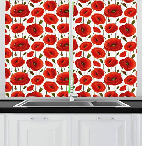 Amazon Com Ambesonne Poppy Kitchen Curtains Spring Flowers With Ladybugs Animals And Plants Flora And Fauna Nature Window Drapes 2 Panel Set For Kitchen Cafe Decor 55 X 39 Red Olive Green Home