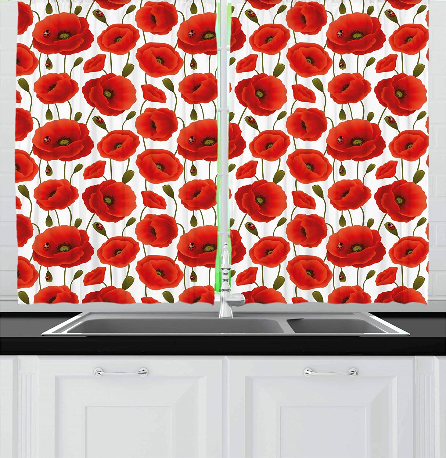Ambesonne Poppy Kitchen Curtains, Spring Flowers with Ladybugs Animals and Plants Flora and Fauna Nature, Window Drapes 2 Panel Set for Kitchen Cafe, 55 W X 39 L Inches, Orange Olive Green White