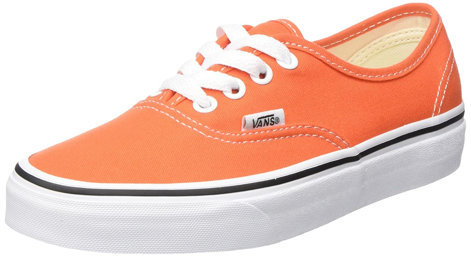 Vans Unisex-Erwachsene Authentic Sneaker  34.5 EU|Orange (Flame/True White 2w1)