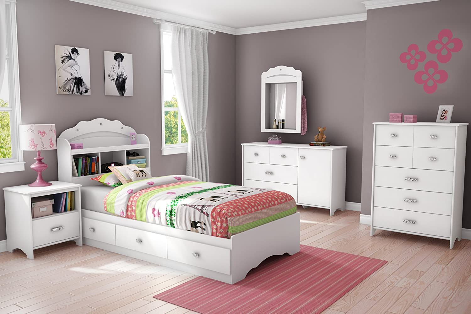 Amazon.com   Tiara Collection Twin Bookcase Headboard   Pure White   Bedroom  Furniture By South Shore   Girls Bed