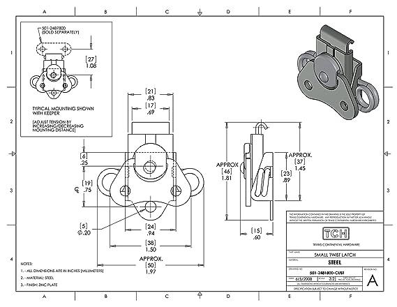 Tch Hardware 4 Pack Steel Small Butterfly Twist Latch Keeper Zinc