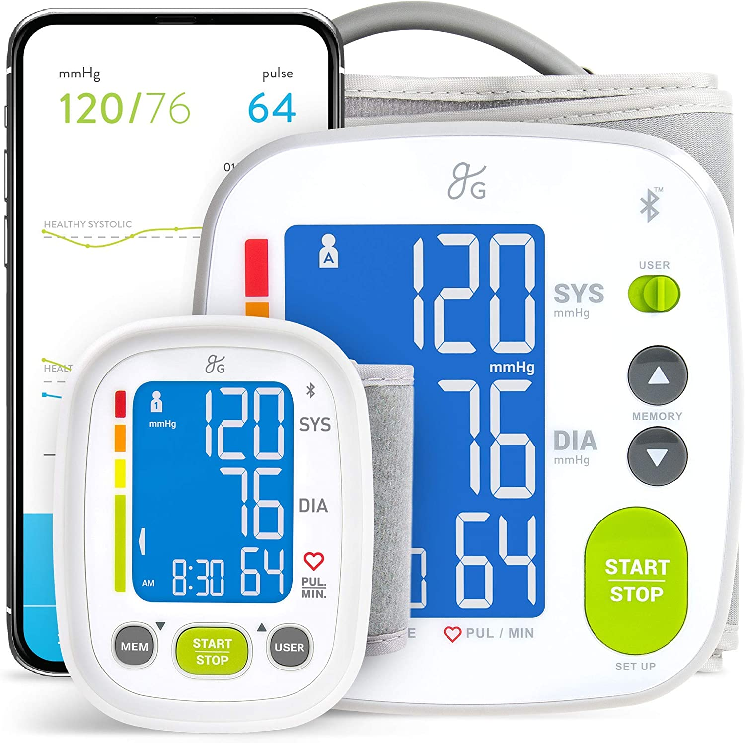 Greater Goods Connected Smart Blood Pressure Monitor Kit for Home and On-The-Go
