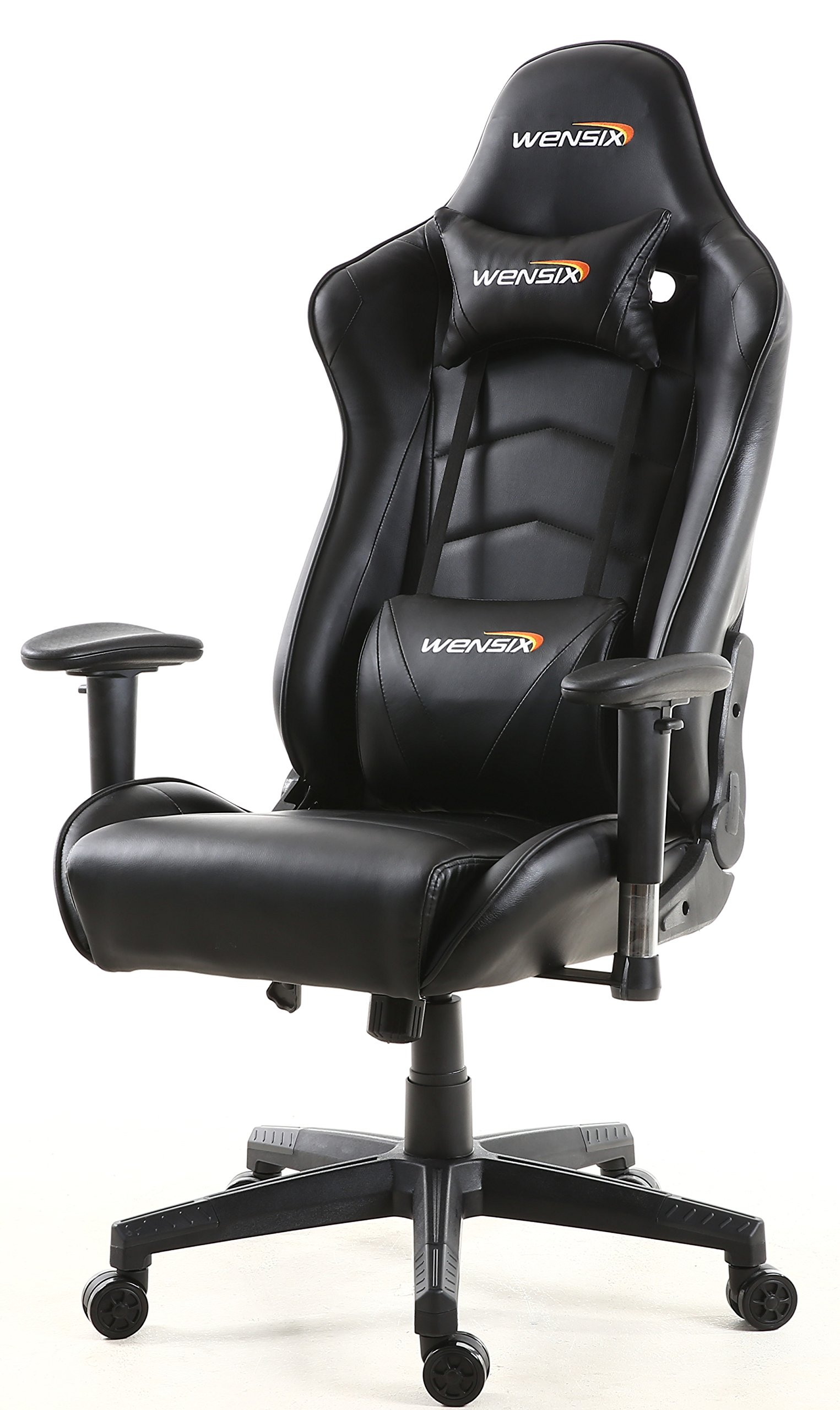 WENSIX Ergonomic High Back Computer Gaming Chair for PC Racing Chairs with Adjustable Headrest and Backrest (Black-01)