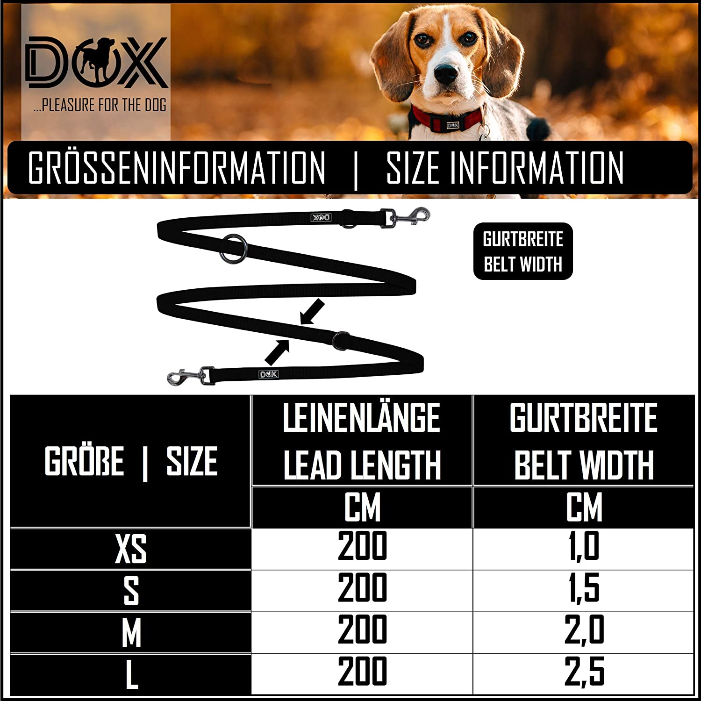 DDOXX Correa Perro Multiposición Nylon, Ajustable en 3 tamaños, 2 m | Muchos Colores & Tamaños | para Perros Pequeño, Mediano y Grande | Correa Accesorios Doble 2 Gato Cachorro | S,