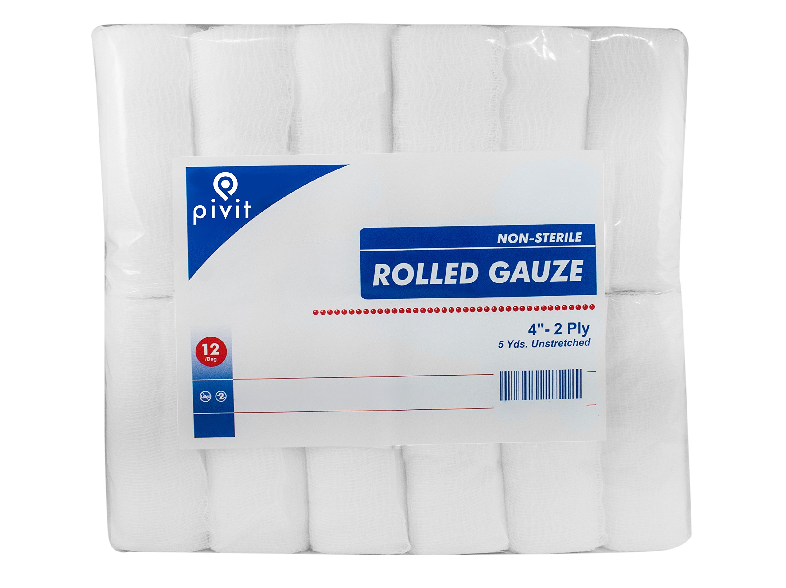 Pivit Non-Sterile Gauze Wrap Rolls | 4'' x 5 YDS, 2-Ply | Pack of 12 | 100% Woven Cotton Bandages Just Stretch Wrap Cut | Fast-Wicking Absorbent and Breathable | Easily Conforms To Hands Ankles & Knees