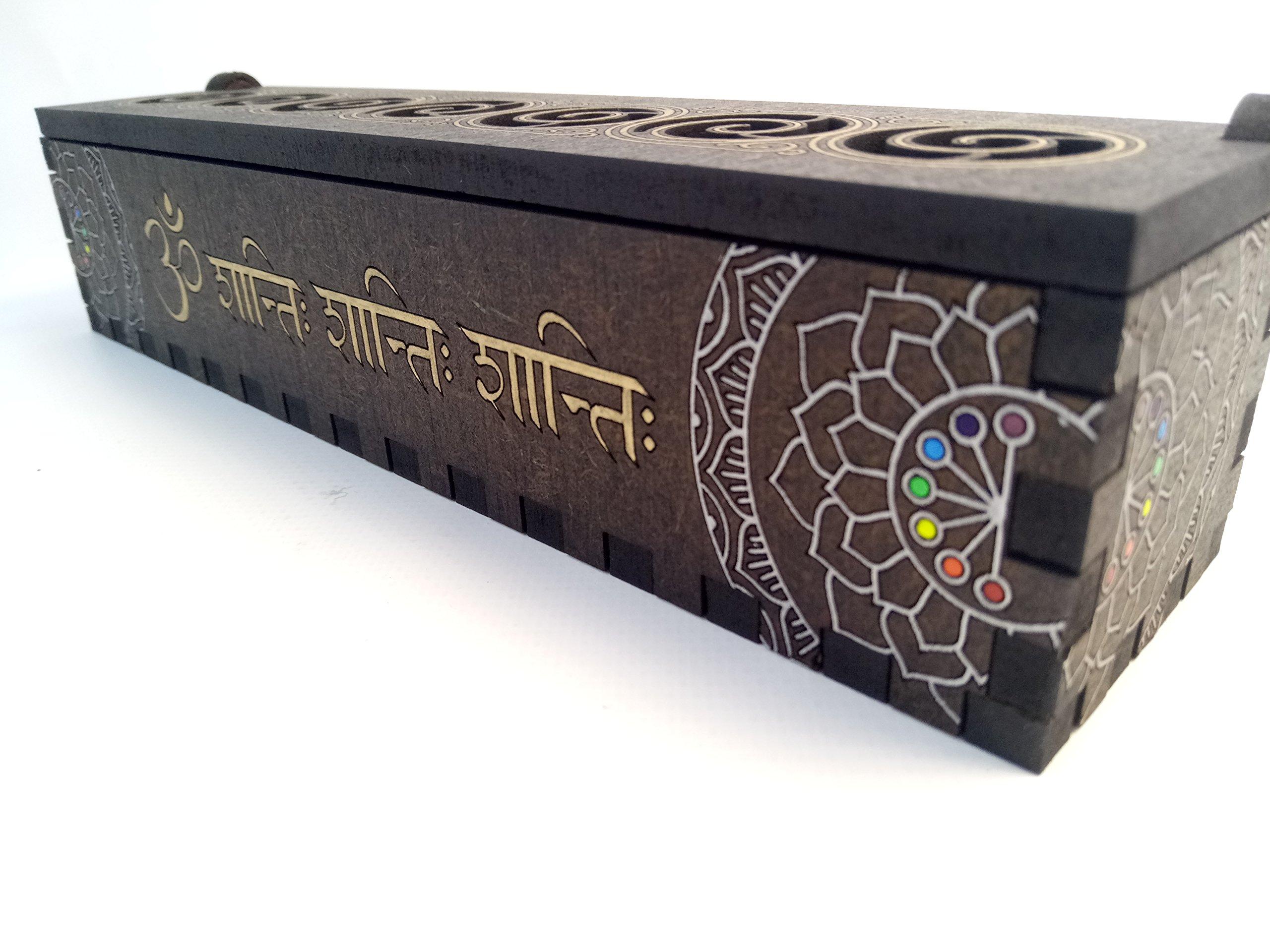 Incense burner box, Hand painted,Om shanti shanti shanti on face, fire safe, MDF 6mm, tibetan style.