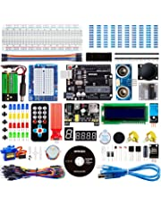 Smraza Super Starter Kit Compatible with Arduino UNO Project with Tutorial, Including Breadboard, Power Supply, Jumper Wires, Resistors, LED, LCD 1602, Sensors
