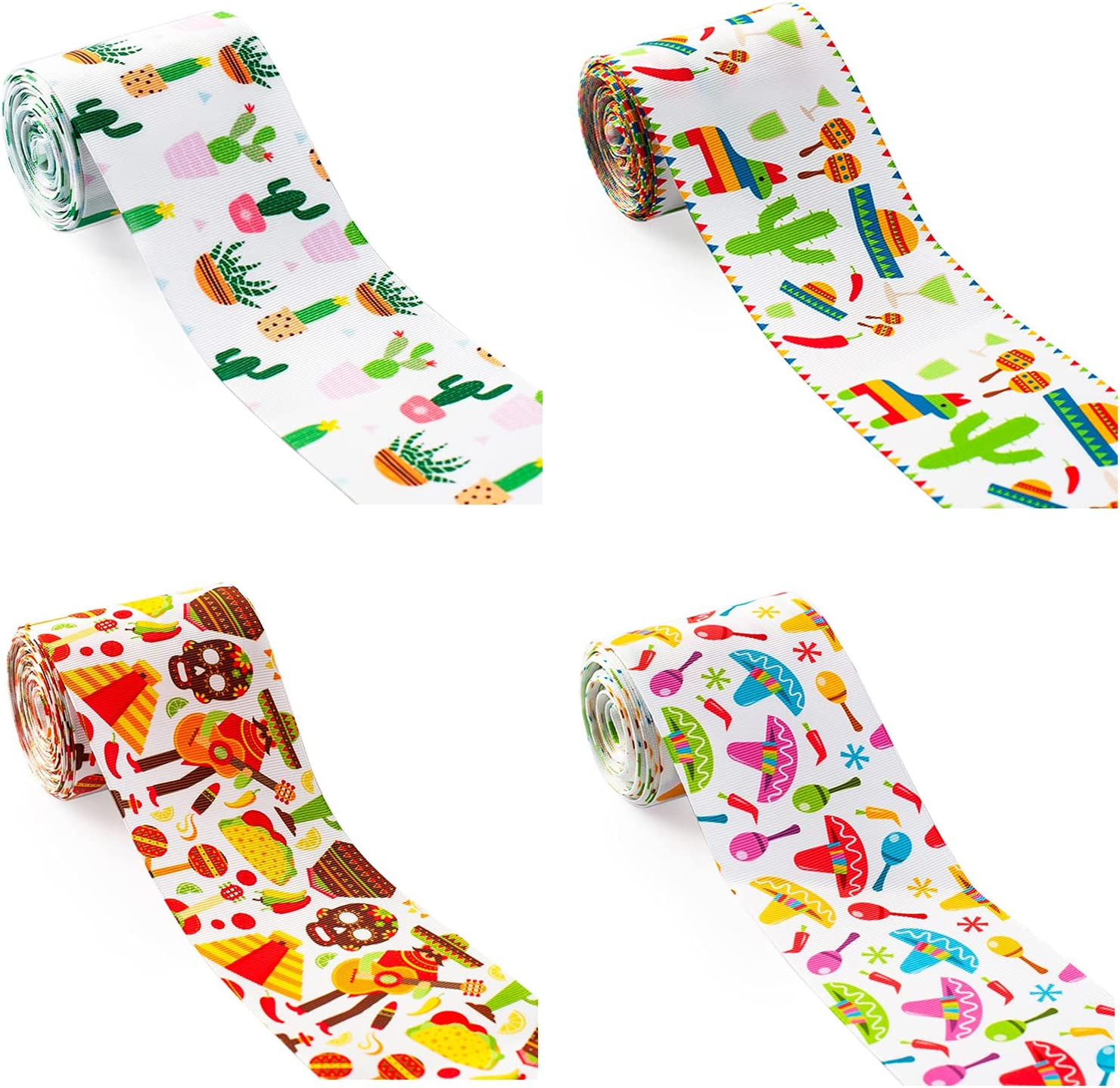 4 Rollars 1.5 Inch Mexican Elements RibbonsCarnival Hat Cacti Food Pattern Ribbon Fiesta Ribbon Fabric Ribbons for DIY Gift Wrapping Party Decoration Crafting Sewing Supplies