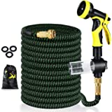 Pimpimsky Garden Hose Expandable 50 feet, Flexible Water Hose with Solid Brass Fittings, Durable Triple Latex Core 9-Pattern
