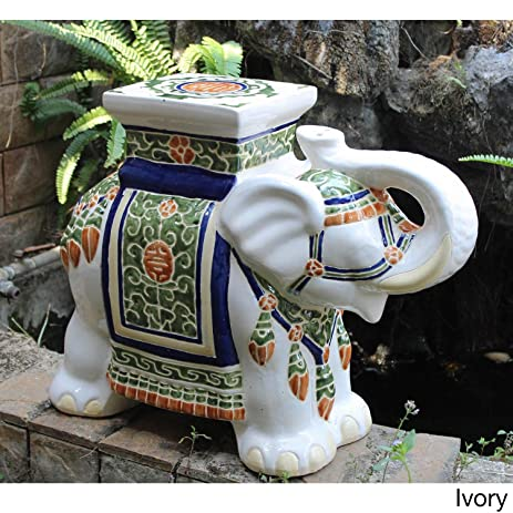 Oriental-themed Large Ivory White Porcelain Elephant Garden Stool Accent Statue with Painted Multicolored Glaze & Amazon.com : Oriental-themed Large Ivory White Porcelain Elephant ... islam-shia.org