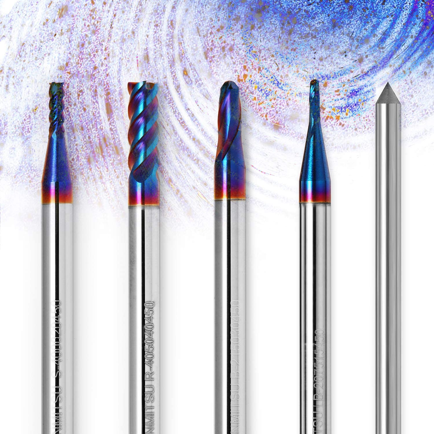 Copper Soft Metal ideal for Wood Aluminum Solid Carbide Nano Blue Coat Tungsten Steel Acrylic Plastic Genmitsu CNC Router Bits End Mill /& Diamond Dresser Set of 5 use for Contour Design