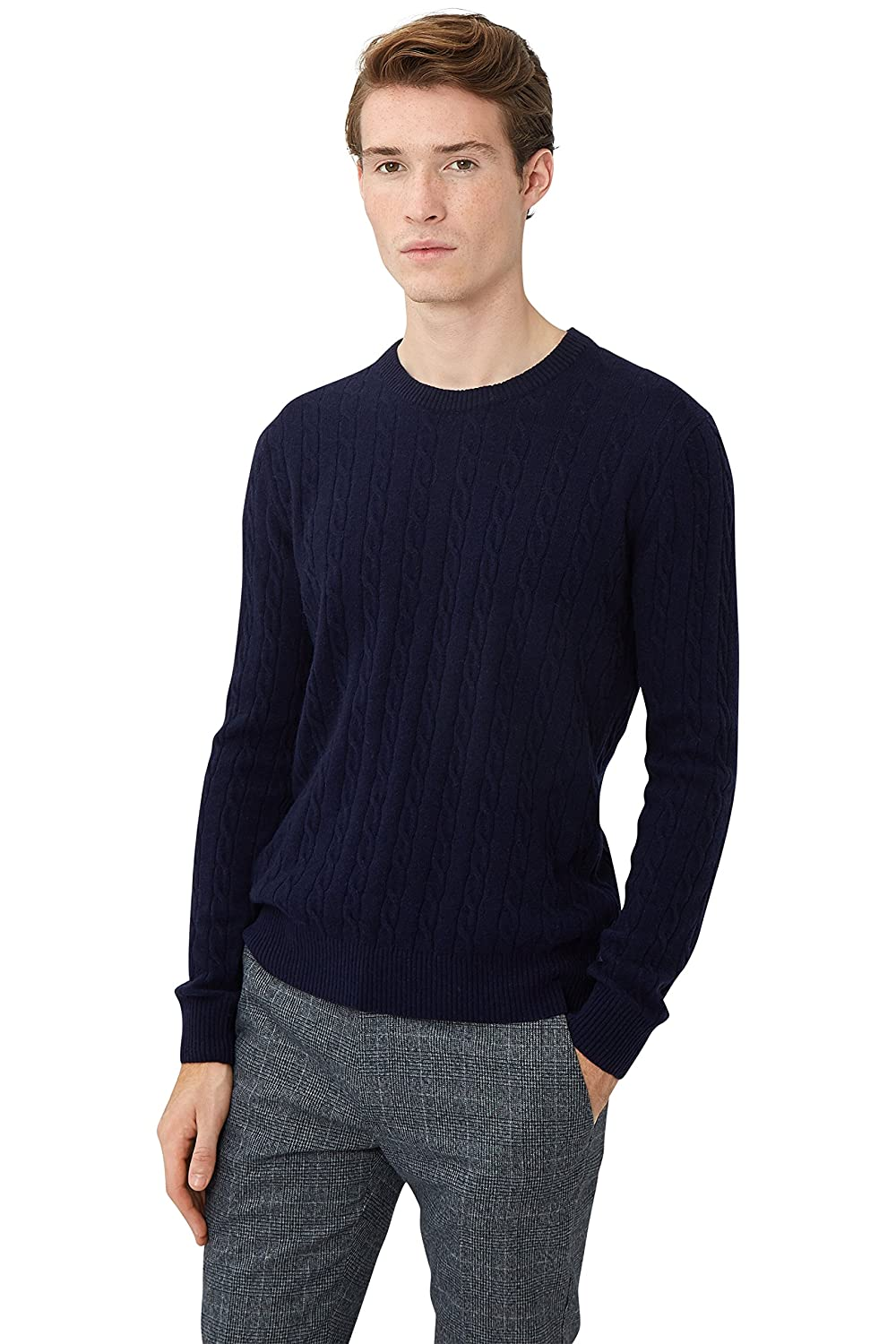 Moss London Men`s Navy Cable Crew Neck Jumper