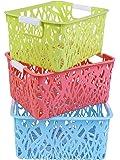 AB SALES Storage Freezer Bins,Refrigerator Organizer Trays, Plastic Containers for Home Kitchen Organization Vegetable Fruit Food Storage Basket Rack Organizer(14X18.3X26.5 cm, 3 PCS)