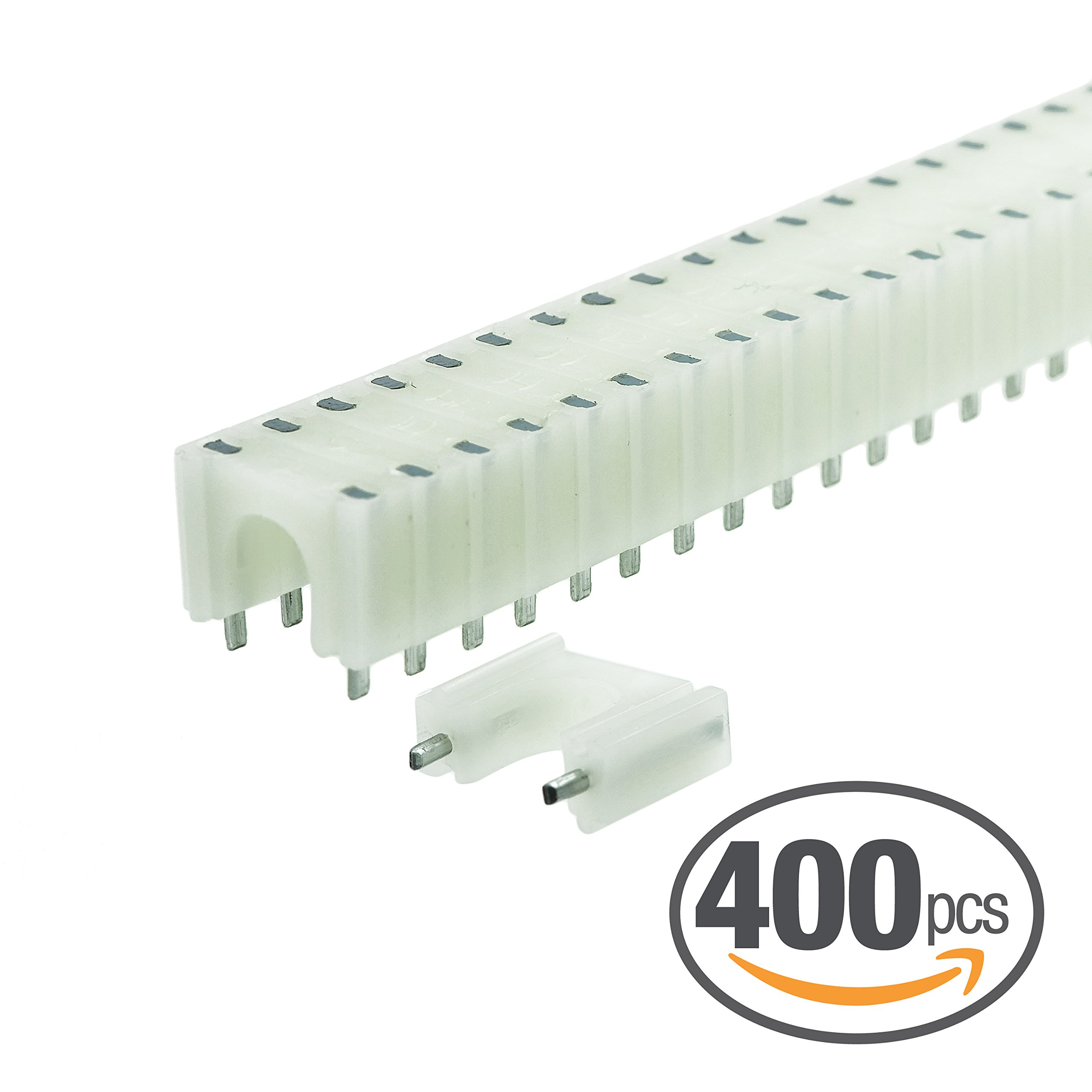 Mediabridge 8mm Cable Clips (400pcs, White) 16×25pc cartridges - For RG6 Tri/Quad Shield Coax, Cat7, 14-16AWG 4-Conductor & 12AWG 2-Conductor Speaker Wire (0.275''-0.3'' Outer Diameter) (Part# RBC8W )