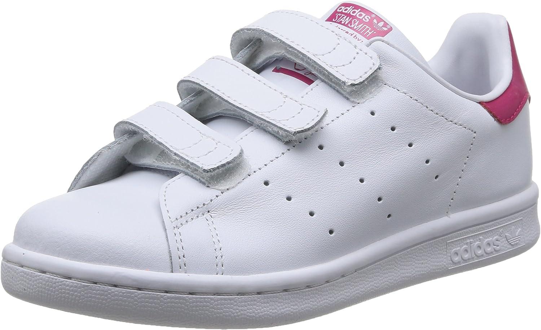 adidas Stan Smith CF, Baskets Basses Fille, Blanc (Footwear WhiteBold Pink), 28 EU