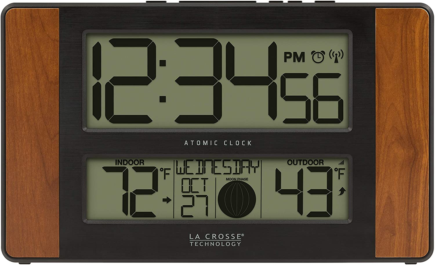 La Crosse Technology 513-1417CH-INT Atomic Digital Clock with Temperature and Moon Phase