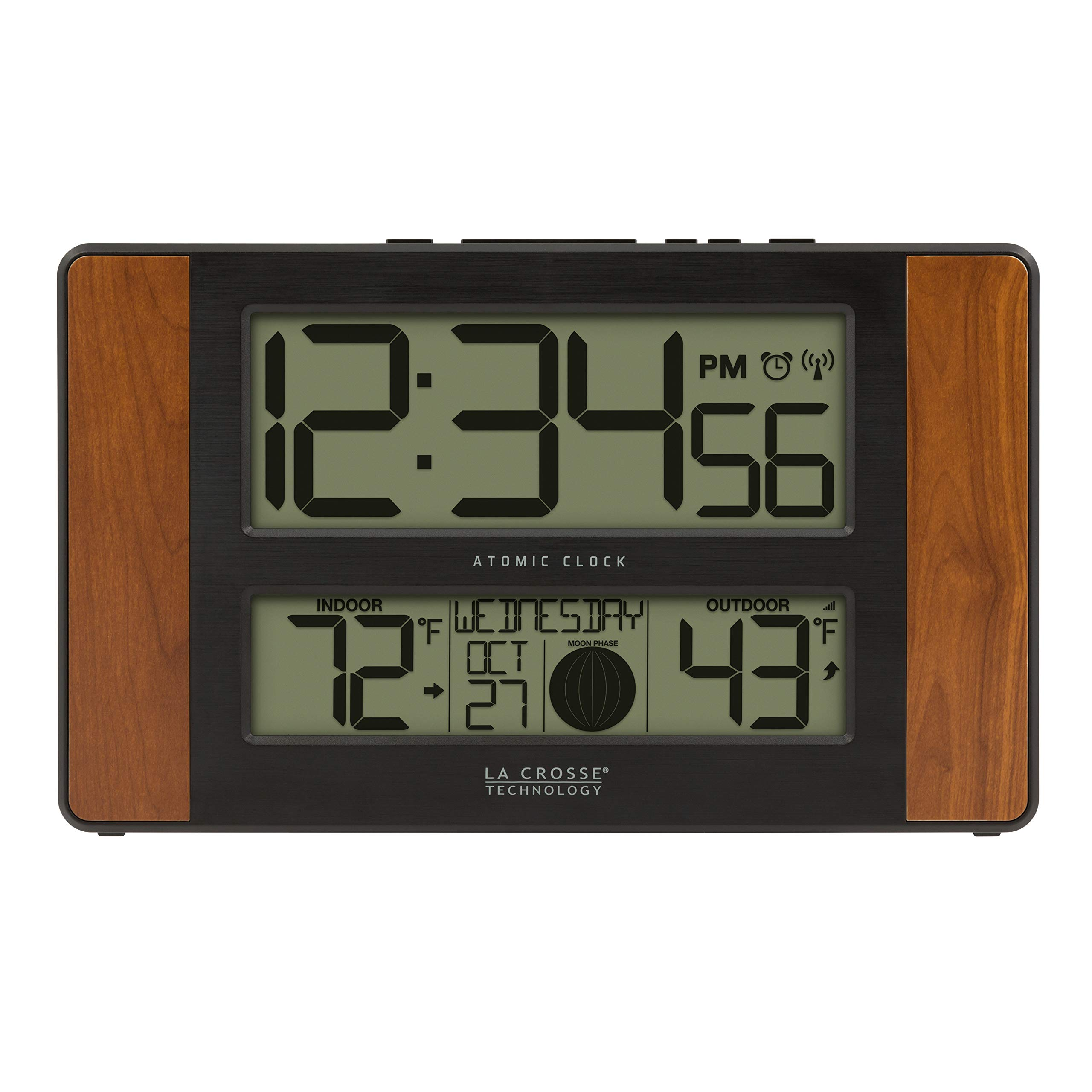 La Crosse Technology 513-1417CH-INT Atomic Digital Clock with Temperature and Moon Phase by La Crosse Technology