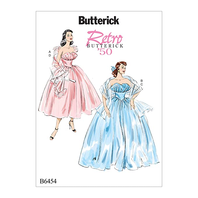 1950s Sewing Patterns | Dresses, Skirts, Tops, Mens 1950 Butterick B6454A50 Womens Retro Ball Gown and Shawl Sewing Pattern Costume Sizes 14-22 $9.99 AT vintagedancer.com