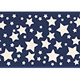 White Stars Blue Bedroom Wallpaper Border For Kids Roll 15 X 587