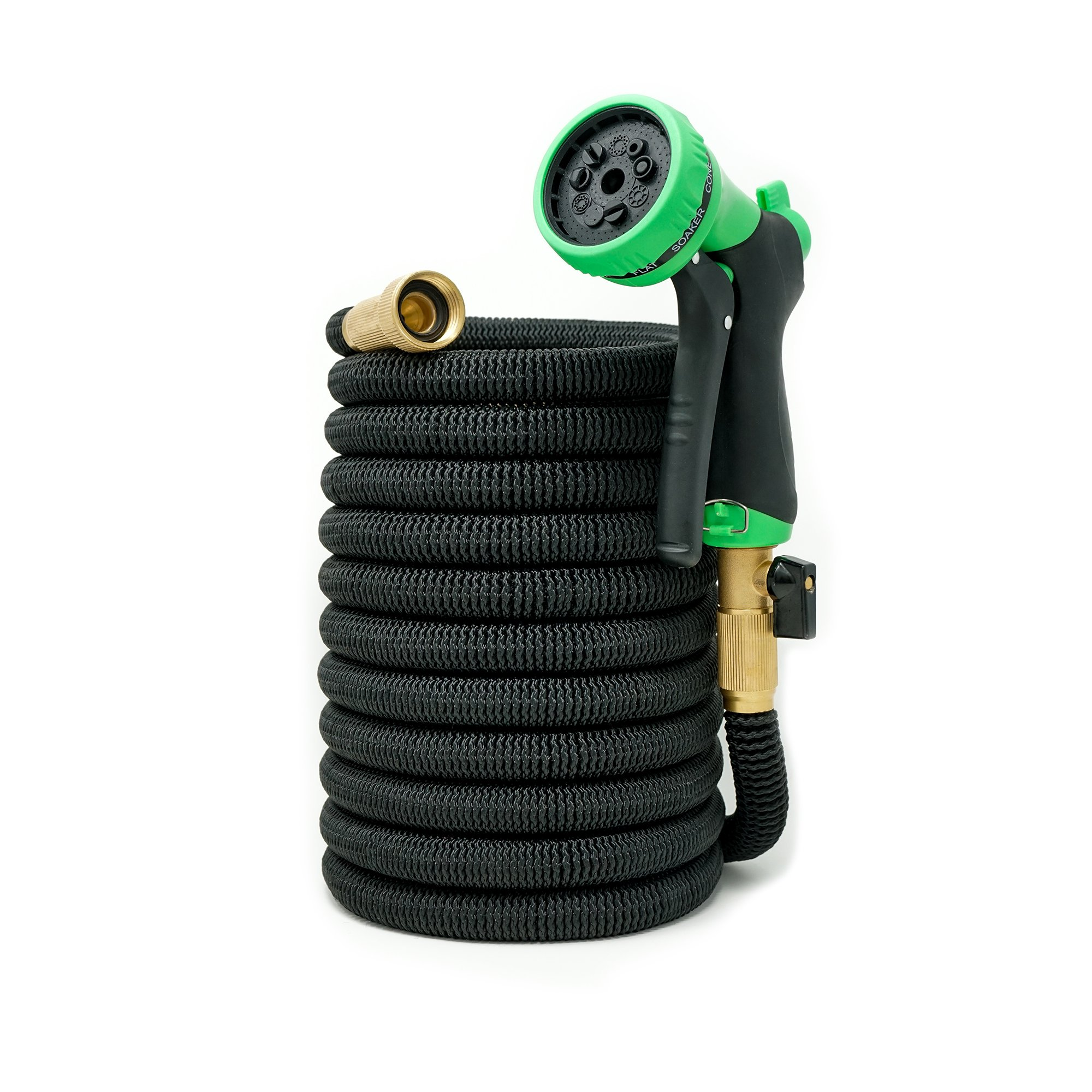50ft Expandable Hose - NEW 2018 Heavy Duty Expandable Garden Hose - Triple Latex Core, 3/4 Brass Connectors, Extra Strength Fabric, Expanding Garden Hose with 9 Function Spray Nozzle - 1 Year Warranty