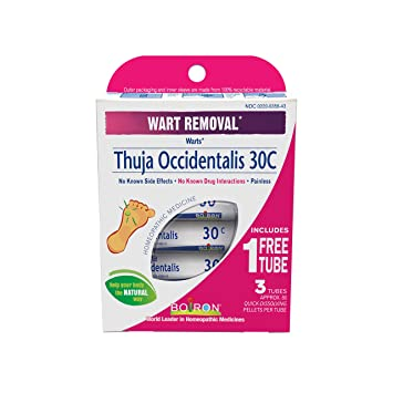 Boiron Thuja Occidentalis 30C Wart Removal Medicine, 3 Count (80 Pellets  each tube)  Homeopathic,