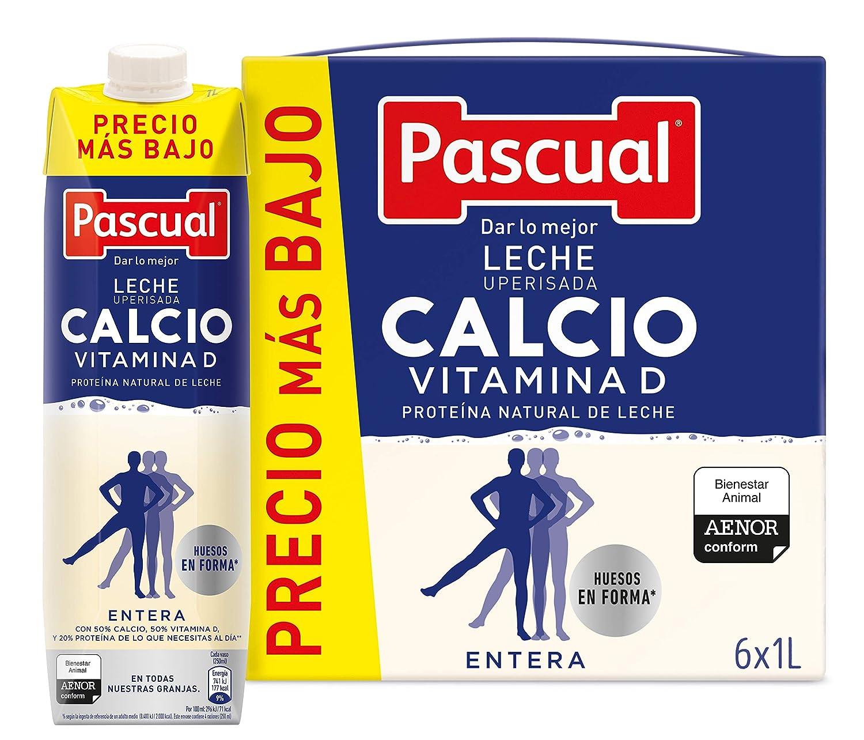 Pascual Leche Calcio Entera - Paquete de 6 x 1000 ml - Total: 6000 ml: Amazon.es: Alimentación y bebidas