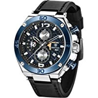 BENYAR Relojes Hombre Relojes de Pulsera Cronografo Diseñador Impermeable Reloj Hombre Banda de Cuero Analogicos Fecha…