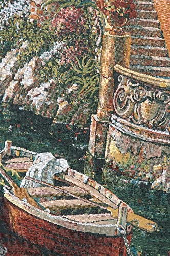 Charlotte Home Furnishing Inc. Belgian Tapestry Wall Hanging, 36 in. x 48 in, Lake Como – Landscape Wall Tapestry