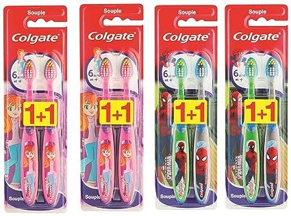 Colgate Smiles - Juego de 8 cepillos de dientes para niños a partir de 6 años, suave, diferentes colores (Pack de 4): Amazon.es: Salud y cuidado personal