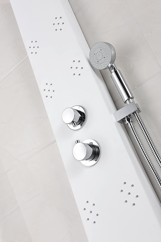 Panel de ducha de 64 pulgadas, color blanco, serie Swan SP-AZ033 ...