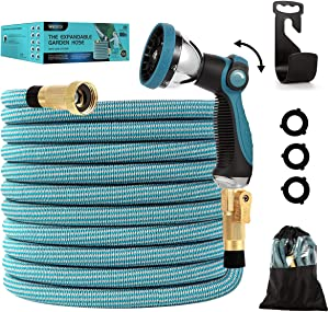 Watato Expandable Garden Hose 100ft-Water Hose with Durable 10 Way Zinc Alloy Spray Nozzle-4 Layers Latex and 3/4'' Solid Brass Fitting-Strength 3750D Flexible Lightweight Yard No Kink Hose Pipe Set