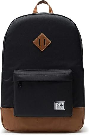 Herschel Heritage Backpack, Black/Saddle Brown, Classic 21.5L