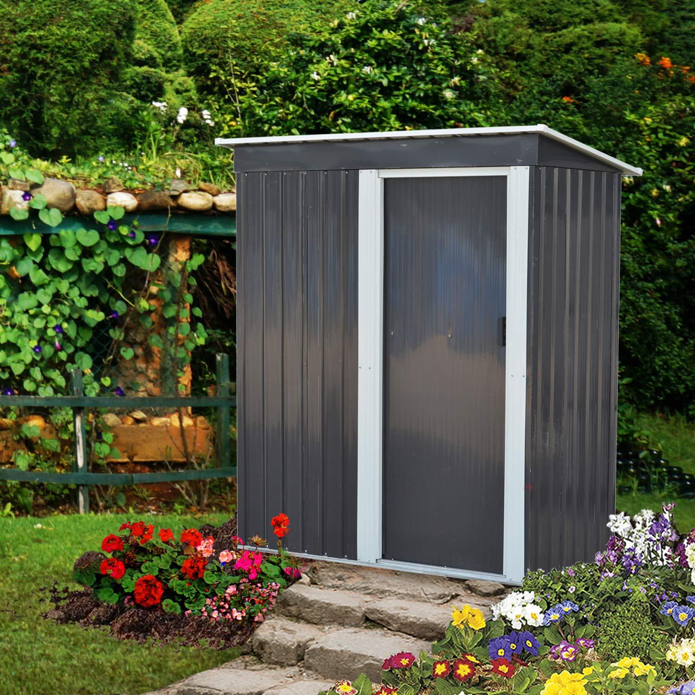 DOIT 5' x 3' Outdoor Metal Garden Storage Shed,Outdoor Tool House Heavy Duty Sliding Door by DOIT