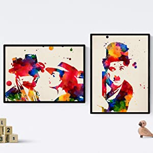 Nacnic Prints Casablanca & Charlie Chaplin - Set of 2 - Unframed 8x11 inch Size - 250g Paper - Beautiful Poster Painting for Home Office Living Room