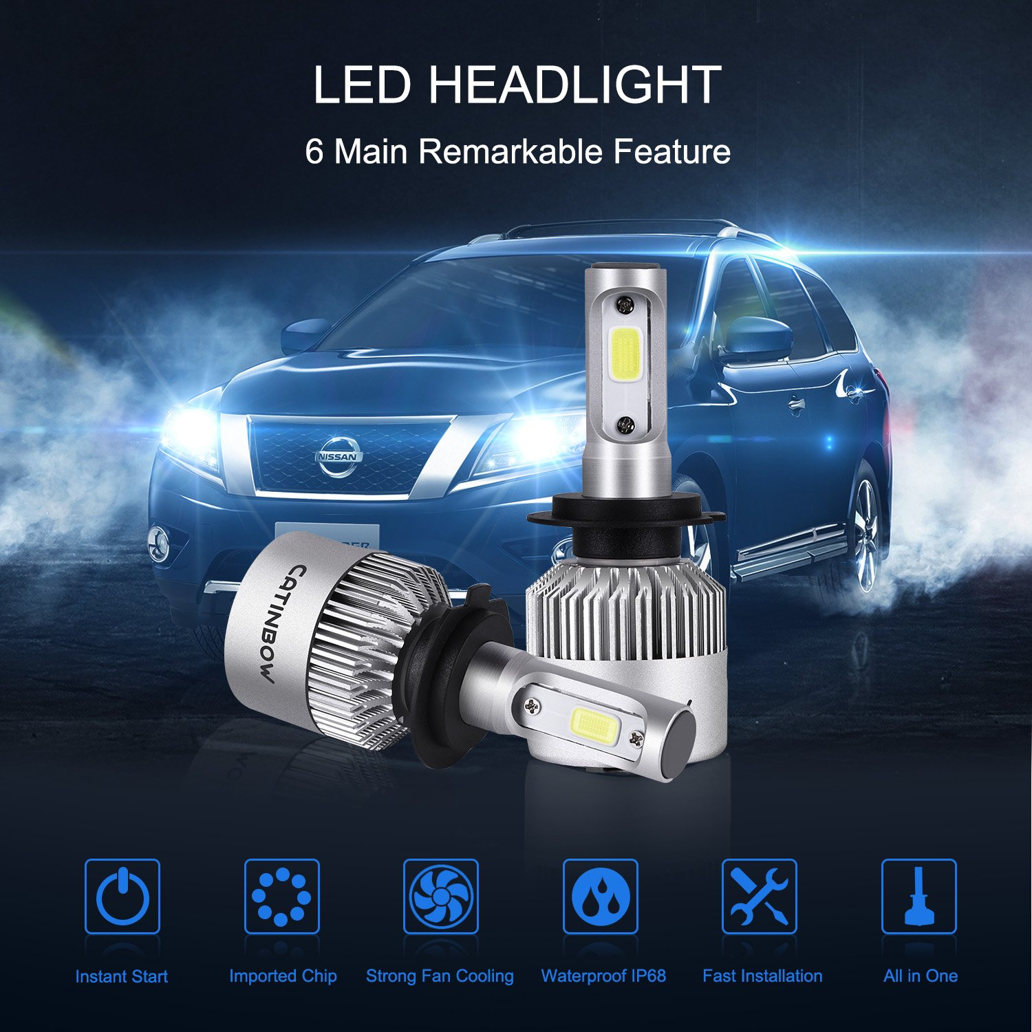 Catinbow H7 Led Headlight Bulbs 7200lm Super Bright Cob Replace 66 Mustang Fuse Box Conversion Kit Easy Installation Plug Play Automotive Headlamp